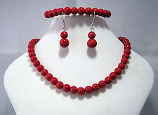 Red Glass Beads necklace earrings & bracelet set