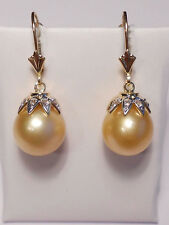 10.7mm South Sea cream golden pearl dangle earrings,diamonds,solid 14k WG