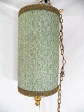 Vintage Chenille Green Gold Braid Hanging Swag Chain Drum Lamp Light Mod 60s 70s