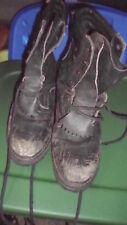 Vintage Original Vibrant Fireman Wildland Leather Boots Men's Size 9E Black