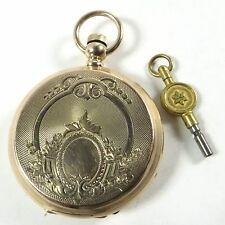 1873 ELGIN 11J 10S 14K GOLD GAIL BORDEN DBL HUNTER CASE KEY WIND POCKET WATCH