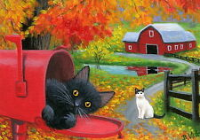 Black cat mailbox country road barn autumn fall landscape OE aceo print art