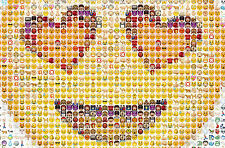 Framed Print - Love Heart Eyed Mosaic Emoji Picture (Poster Smiley EMOJI Art)