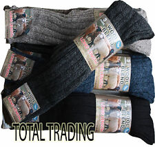 6 Pairs Of Men's Long Wool Socks,Chunky Thick Heavy Duty Work Boot Socks, 6-11