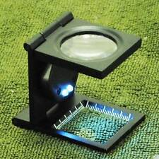 New 5X LED Fold Scale Fabric Frame Cloth Jeweler Magnifier Magnifing Glass Loupe