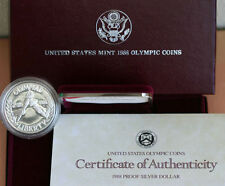 1988 PROOF Olympic US Mint Commemorative Silver Dollar Coin with COA & Box
