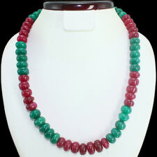 GENUINE MARVELLOUS 679.00 CTS EARTH MINED RUBY & GREEN EMERALD BEADS NECKLACE