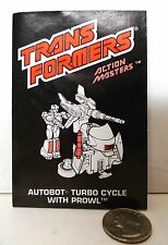 Transformers GEN 1 G1 Hasbro ACTION MASTER TURBO CYCLE booklet instructions !!!