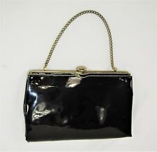 Vintage 60's ANDE Black Patent Leather Gold Tone Evening Bag Clutch Purse 8 1/4""