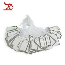 100pcs Jewelry Display Tie-on Price Tags Silver Paper Lable with String Hang Tag