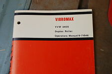 CASE VVW 3400 DUPLEX ROLLER Compactor Owner Operator Operation Manual book guide