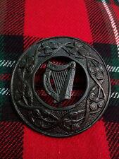 """TC irlandais harpe celtique kilt fly plaid broche finition noire 3 """" / fly plaid broche HARPE"""