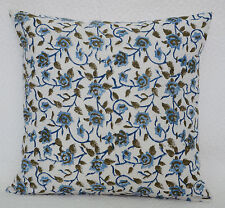 "16"" BLOCK PRINT FLORAL COTTON PILLOW CUSHION THROW Ethnic India Flower Decor Art"