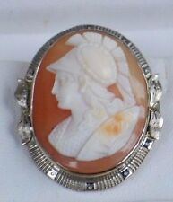 Antique 14k White Gold Pin Left Face Roman Warrior Coral Shell Cameo Brooch