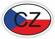 OVAL FLAG WITH CZ CZECH REPUBLIC COUNTRY CODE STICKER CAR MOTOCYCLE AUTO TRUCK
