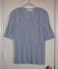 ST. JOHN COLLECTION Powder Blue Sort Sleeve Sweater Top ~ SZ 6