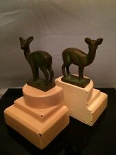 Rare! 1930s Art Deco NUART Style Fawn Bookends Triple Tier Small Size Baby Deer