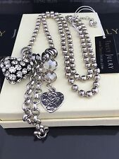 Stunning Designer Long Silver Necklace With Diamante Heart  - Gift Packaged