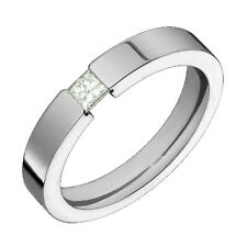 Flat Style Titanium Ring Princess Cut Diamond 3mm Wide Wedding Band 4 Him N Her