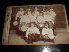 Cabinet photograph girls costume tambourines by Adams Burley Fields Leeds c1890s