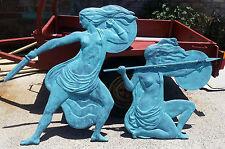 Sculpture Greek Amazon Warriors Ἀμαζόνες Large wall bas-relief 2.5m Green Finish