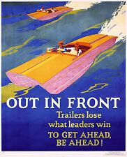Out in Front (Mather & Co) Speed Boat 1929 Poster 13 x 16 Giclee print