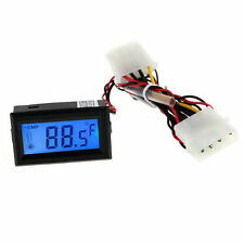 Digital Thermometer LCD Meter Gauge Detector  PC Car C/F Molex Panel Mount DE