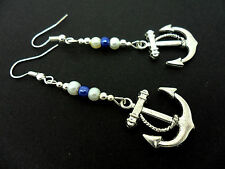 A PAIR OF  TIBETAN SILVER DANGLY SHIPS ANCHOR  BLUE/WHITE  BEAD   EARRINGS. NEW.