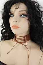 Women Fashion Choker Necklace Wide Fabric Brown Faux Leather Strap Corset Tie