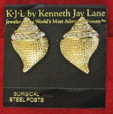 Kenneth Jay Lane KJL Golden Rhinestone Shell Stud Earrings for Pierced Ears NEW