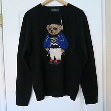 Polo Ralph Lauren Black Ski Bear Sweater Medium M 92 Lo 1992 vintage hand knit