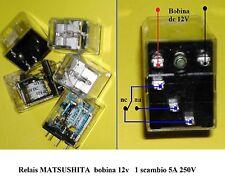10 pezzi Relè Relais MATSUSHITA con bobina 12 V, 1 scambio 5A 250V made in Japan