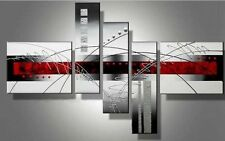 Big Ready to Hang 5 Piece Modern Art Abstract Painting Canvas Wall Black Framed
