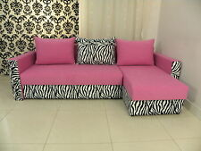 SPRING SALE, 2STORAGES, SPRINGS, SOFA BED BRISTOL pink/zebra, 2MEN DEL TO ENGL
