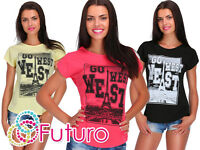 Casual T-Shirt Go West Print Crew Neck Short Sleeve Ladies Top Sizes 8-14 FB148
