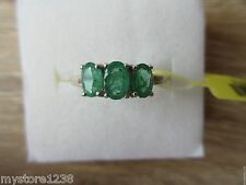 Kagem Zambian Emerald 3 Stone Ring Platinum Over Sterling Silver Sz 5,8,9 Option