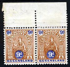 QUEENSLAND AUSTRALIA 1903-5 9d. Brown/Blue Type A & B AS A PAIR SG 265/266 MINT