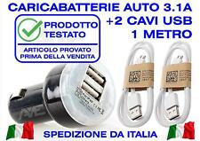 CARICABATTERIA AUTO USB DOPPIO UNIVERSALE SAMSUNG 2 SMARTPHONE TABLET HUAWEI LG