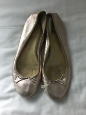 J. CREW GOLD LEATHER BALLET FLATS Sz 8.5 classic shoes soft metallic