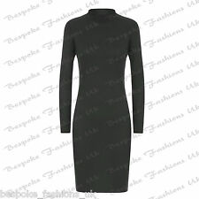 Ladies Women's Turtle Polo Neck Knitted Ribbed Long Sleeve Bodycon Dress SM ML