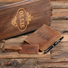 Personalized Engraved Passport Holder, Luggage Tag, Pen, and Wood Gift Box