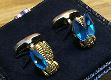 "Paul Smith Cufflinks ""Gold Tone FLY With Blue Wings"" Paul Smith Signature Swings"