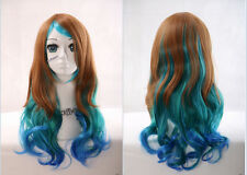 W-28 braun blau brown blue mix 60cm Harajuku Lolita Locken COSPLAY Perücke WIG