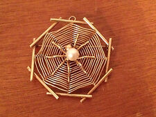Likely Vintage 14 Karat Gold Spider / Spider Web Pin / Brooch / Pendant w/ Pearl