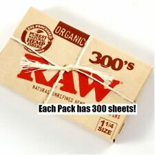 RAW 300's ORGANIC HEMP Natural unbleached Cigarette Rolling Papers 1 1/4 Size.