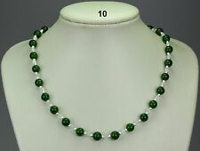 """Green jade 8mm bead necklace, silver stardust spacers, opaque white crystals 19"""""""
