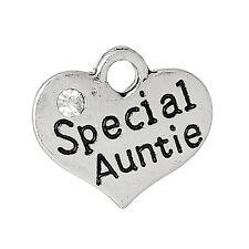 5 Antiguo Plata Especial tía Rhinestone corazón encantador ~ copa de vino encantos ~ (113) Uk