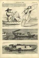 1858 Chinese Boat Girl Sampan Pleasure Boat Shop Boat