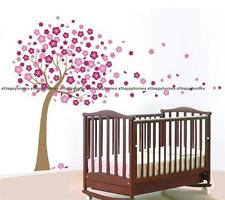 Grand rose cherry blossom flowers tree wall stickers art murales papier peint enfants