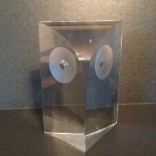 Vintage Glass Owl Sculpture Figure Paperweight Mid Century Design 3D